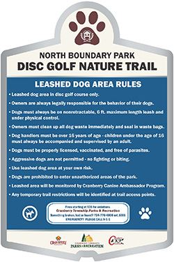 Dog area rules in North Boundary Park